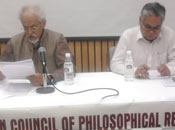 Professor Vinit Haksar, delivering his lecture on Religious Toleration, while Professor Mrinal Miri, Chairman ICPR, chairing the lecture programme.